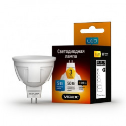 Лампа LED VIDEX Premium MR16 5W GU5.3 3000K 220V (VL-MR16-05533)